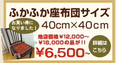 ふかふか座布団サイズ40cm×40cm